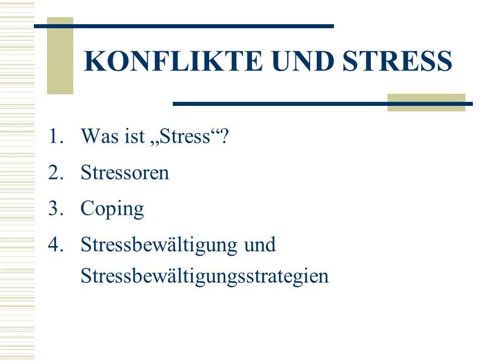 """KONFLIKTE UND STRESS Was ist """"Stress Stressoren Coping"""