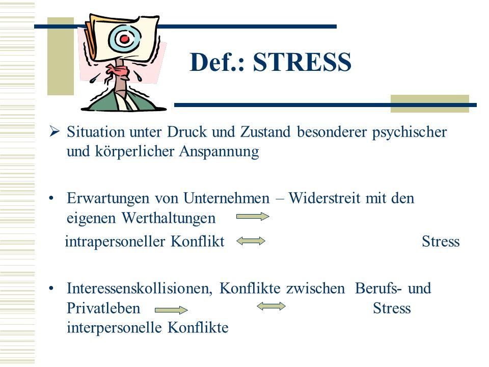 Def.: STRESS Situation unter Druck und Zustand besonderer psychischer und körperlicher Anspannung.