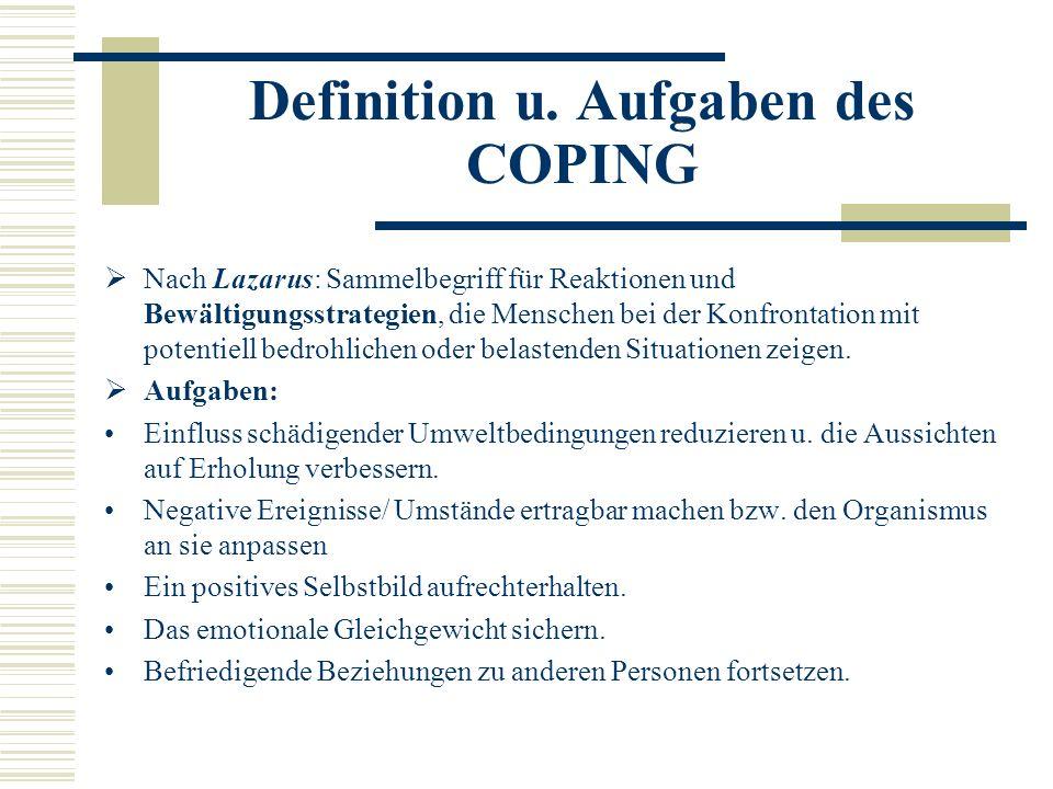 Definition u. Aufgaben des COPING