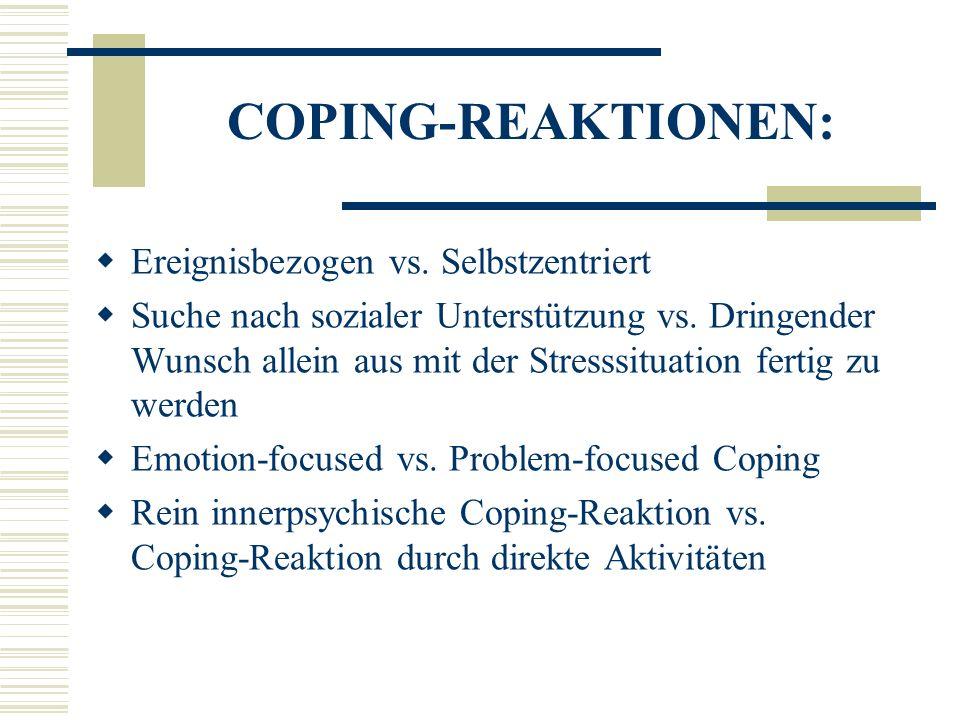 COPING-REAKTIONEN: Ereignisbezogen vs. Selbstzentriert