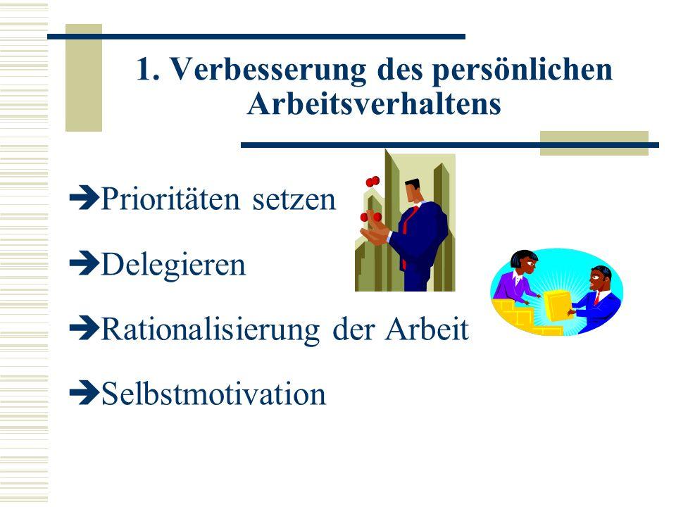 1. Verbesserung des persönlichen Arbeitsverhaltens