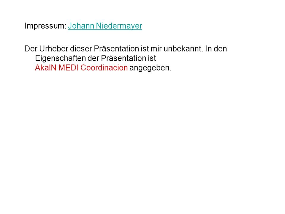 Impressum: Johann Niedermayer