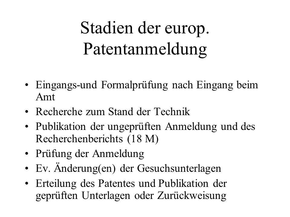 Stadien der europ. Patentanmeldung