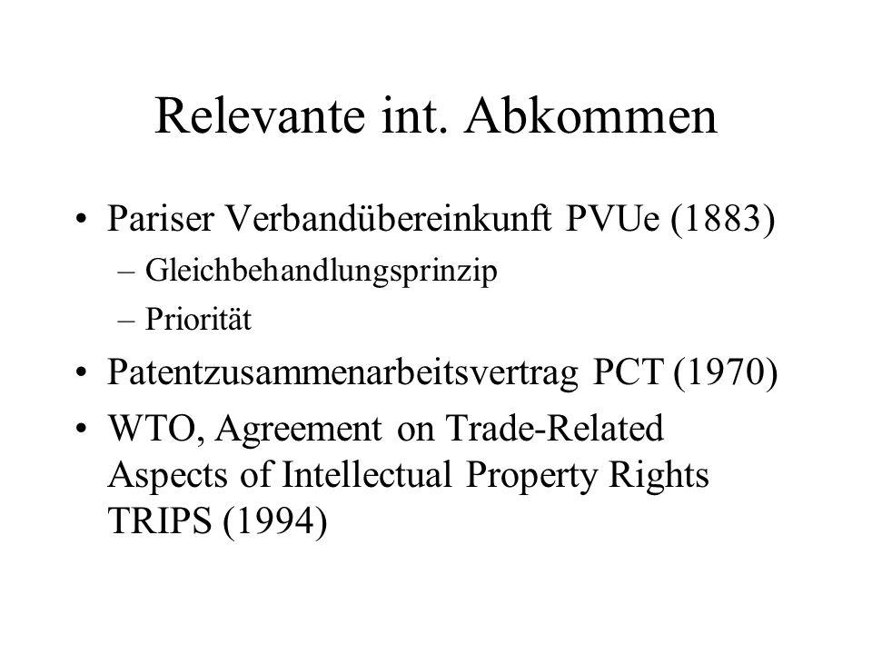 Relevante int. Abkommen