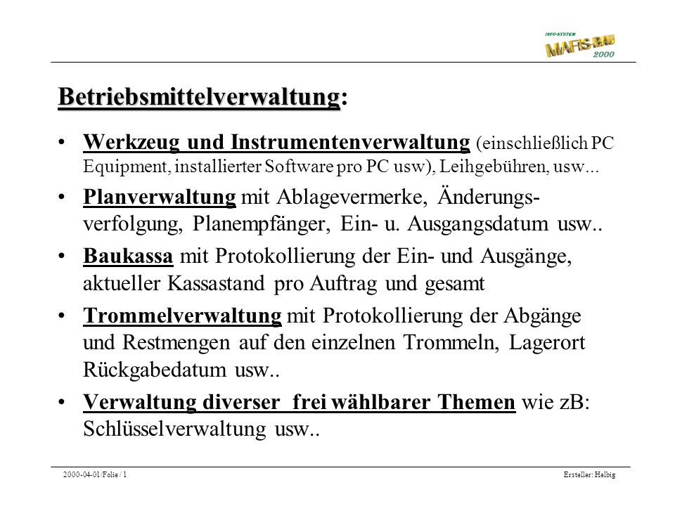 Betriebsmittelverwaltung: