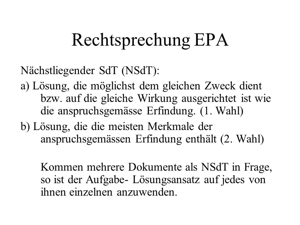 Rechtsprechung EPA Nächstliegender SdT (NSdT):