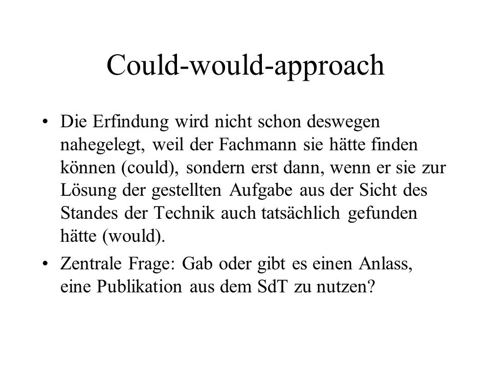 Could-would-approach
