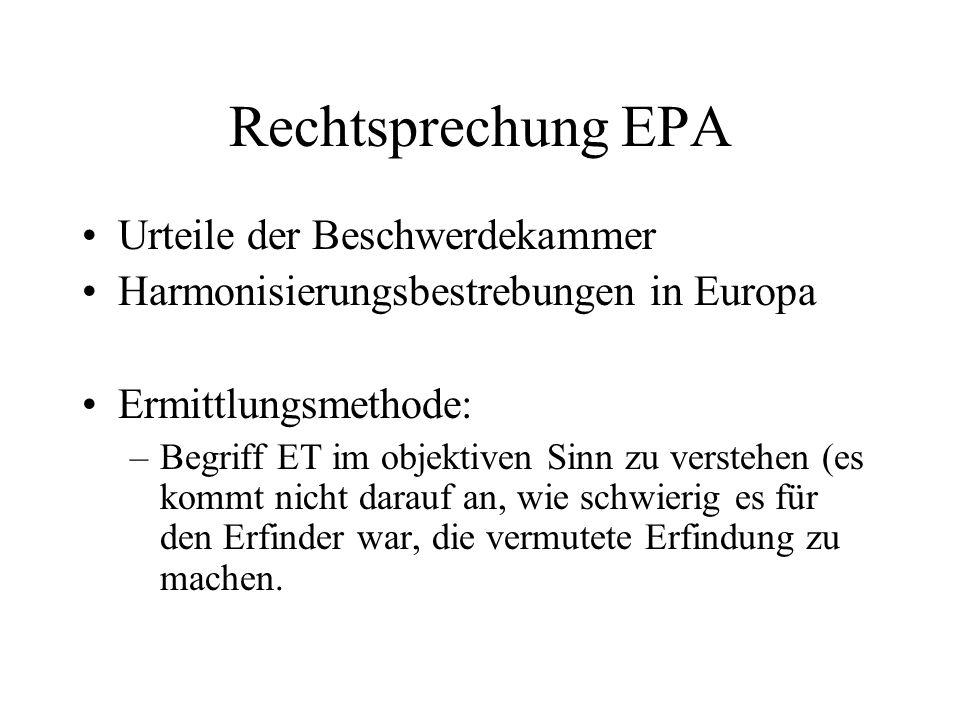 Rechtsprechung EPA Urteile der Beschwerdekammer