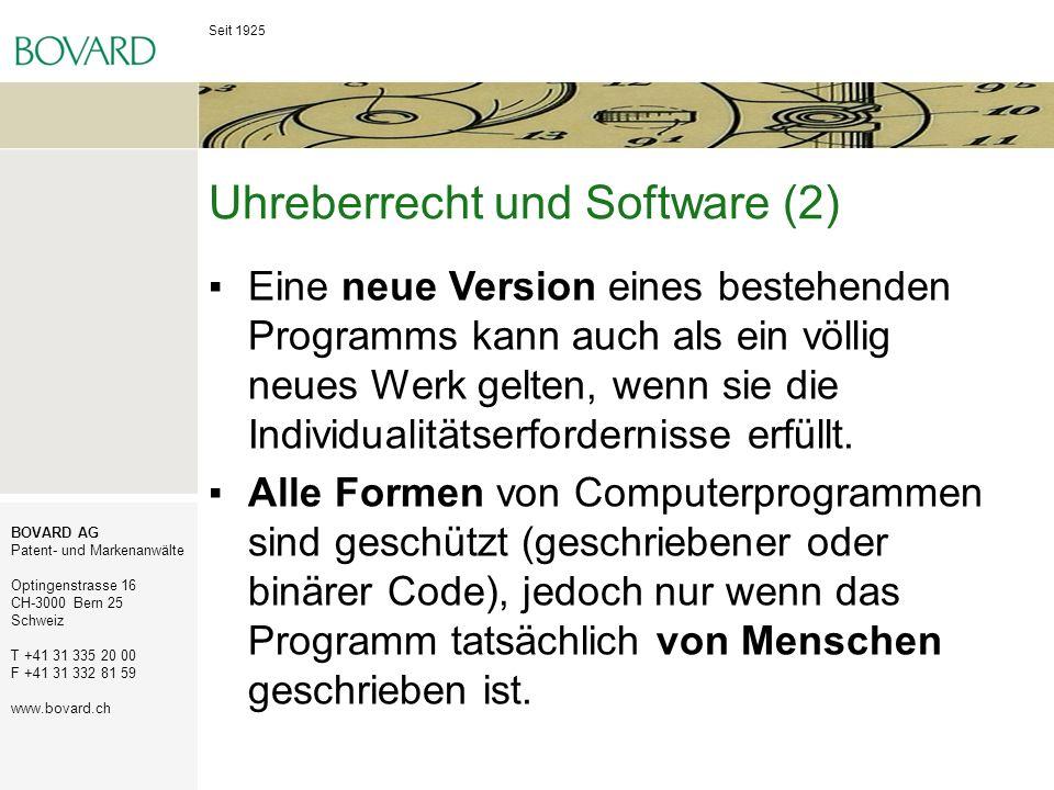 Uhreberrecht und Software (2)