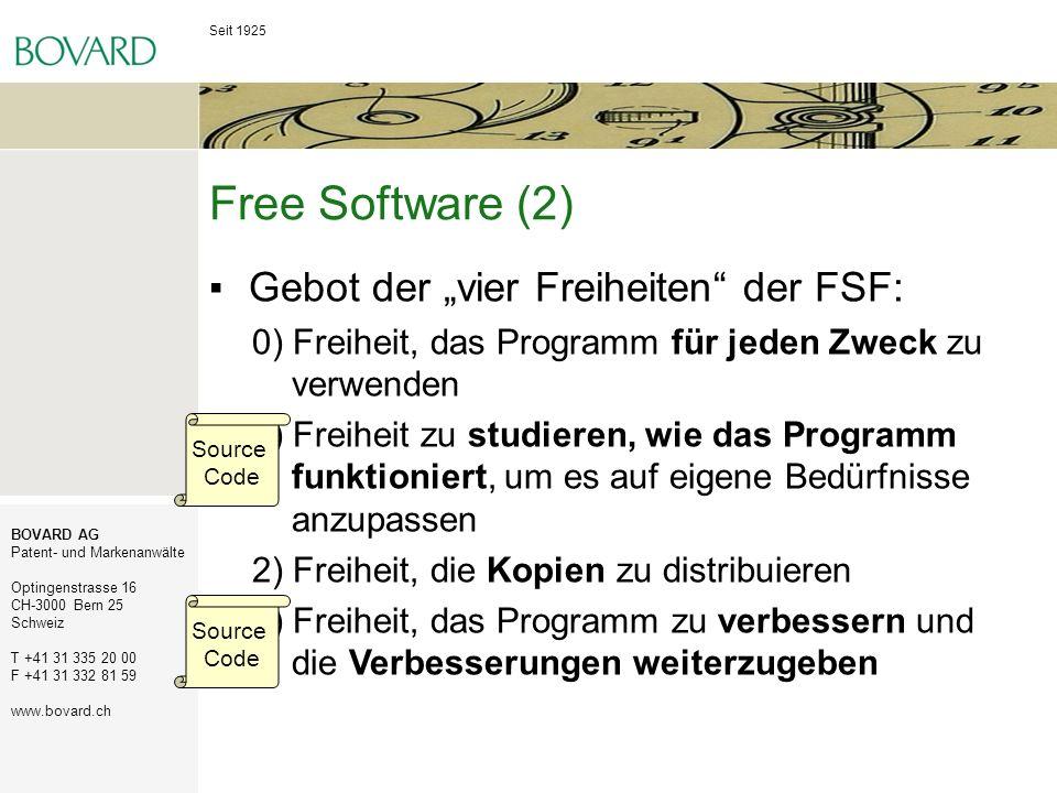 """Free Software (2) Gebot der """"vier Freiheiten der FSF:"""
