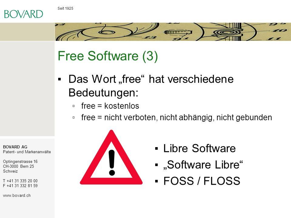"""Free Software (3) Das Wort """"free hat verschiedene Bedeutungen:"""