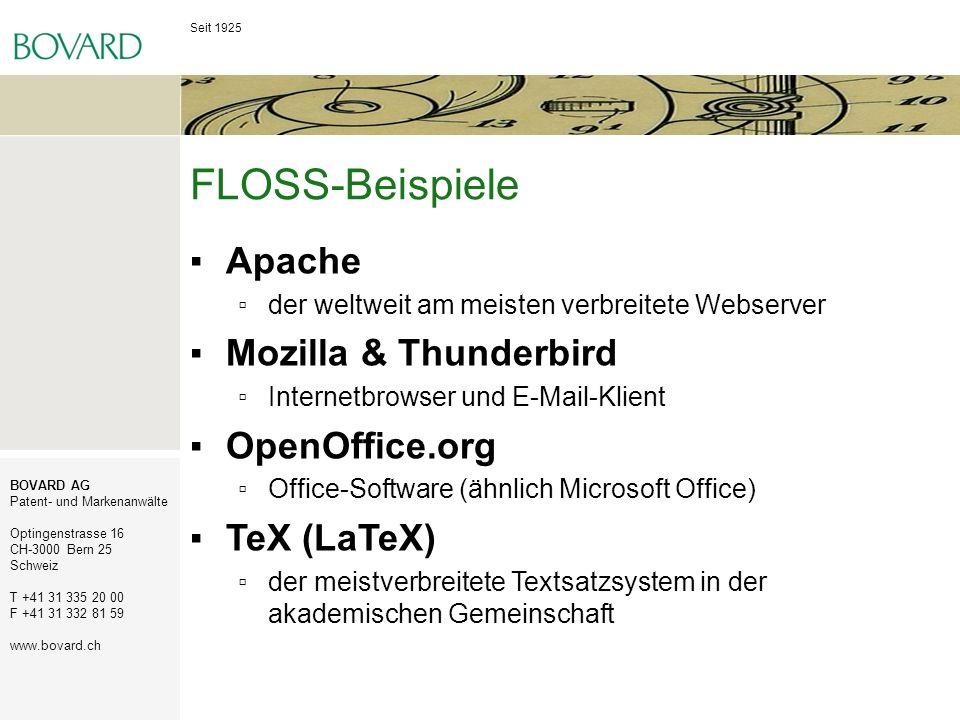 FLOSS-Beispiele Apache Mozilla & Thunderbird OpenOffice.org
