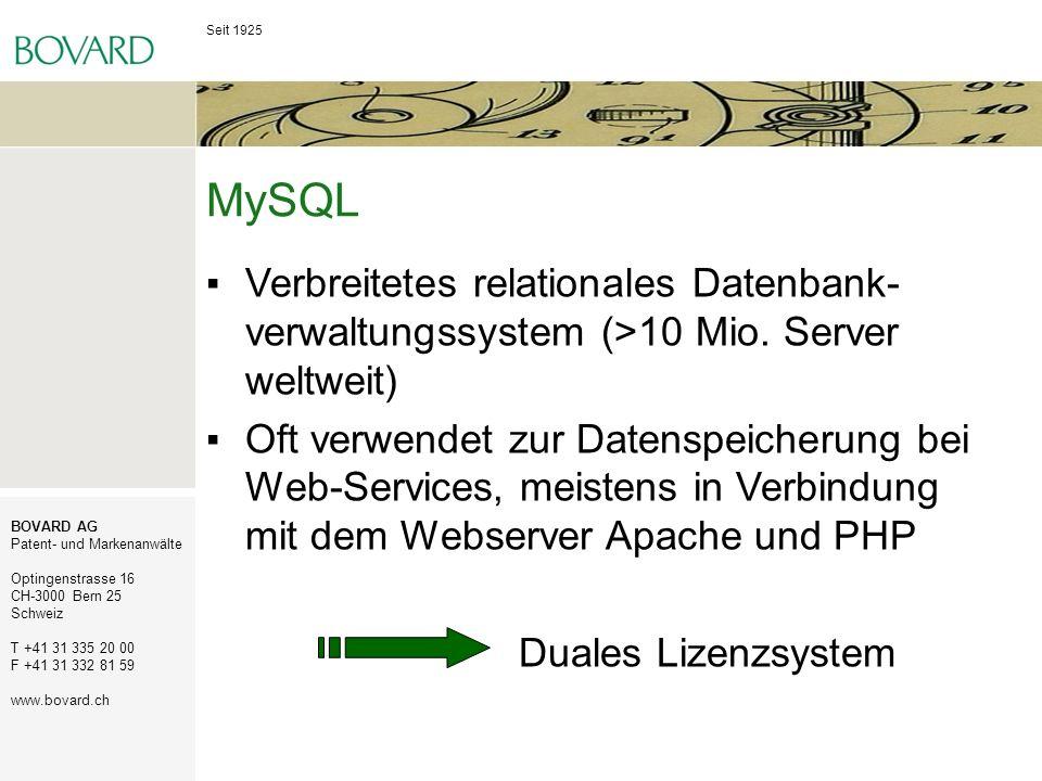 MySQL Verbreitetes relationales Datenbank-verwaltungssystem (>10 Mio. Server weltweit)