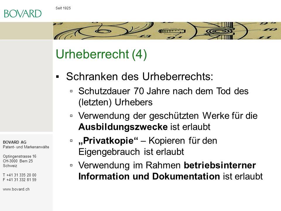 Urheberrecht (4) Schranken des Urheberrechts: