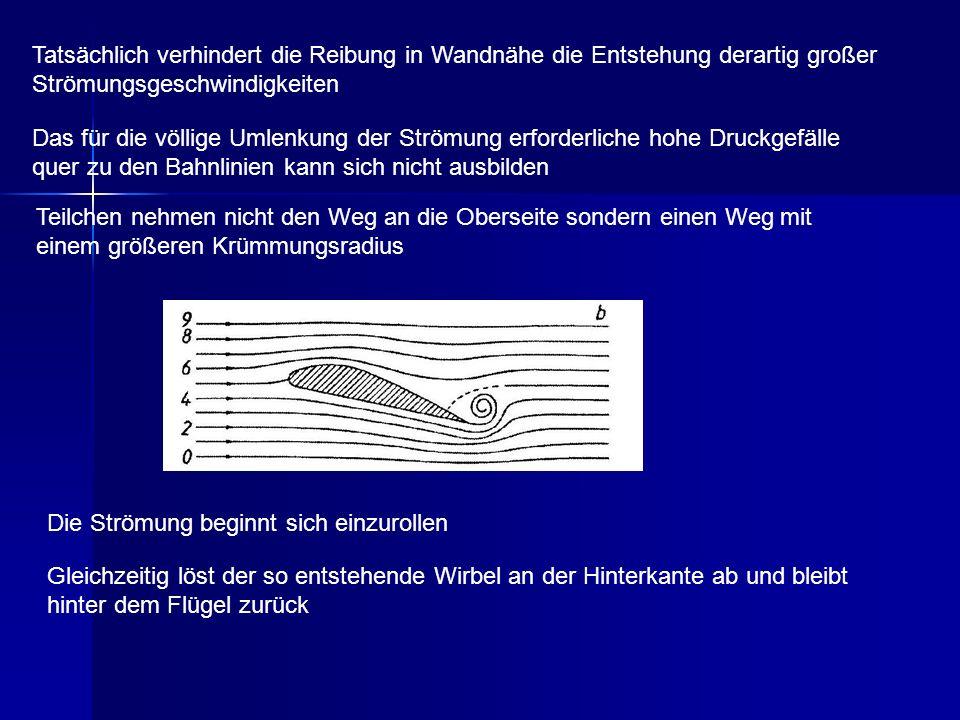 Tatsächlich verhindert die Reibung in Wandnähe die Entstehung derartig großer Strömungsgeschwindigkeiten
