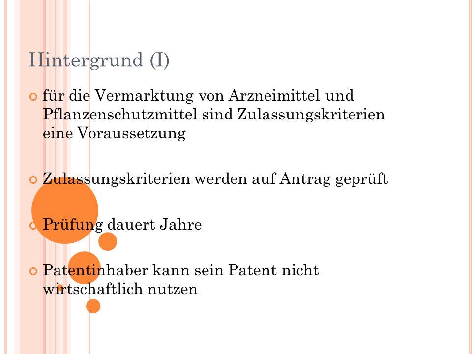 Hintergrund (I) für die Vermarktung von Arzneimittel und Pflanzenschutzmittel sind Zulassungskriterien eine Voraussetzung.