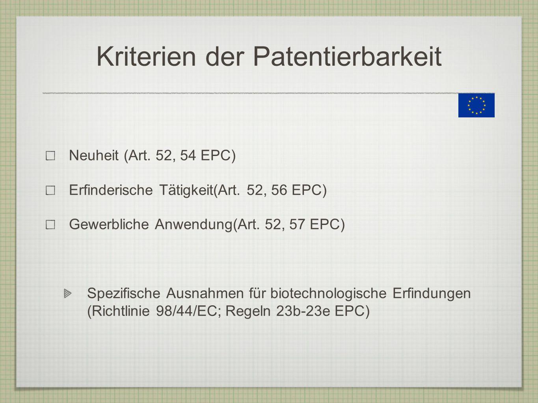 Kriterien der Patentierbarkeit