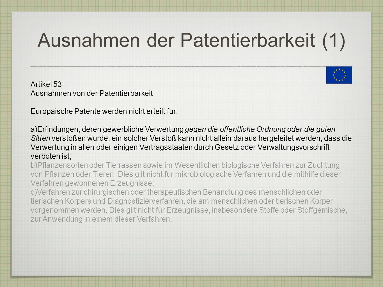 Ausnahmen der Patentierbarkeit (1)
