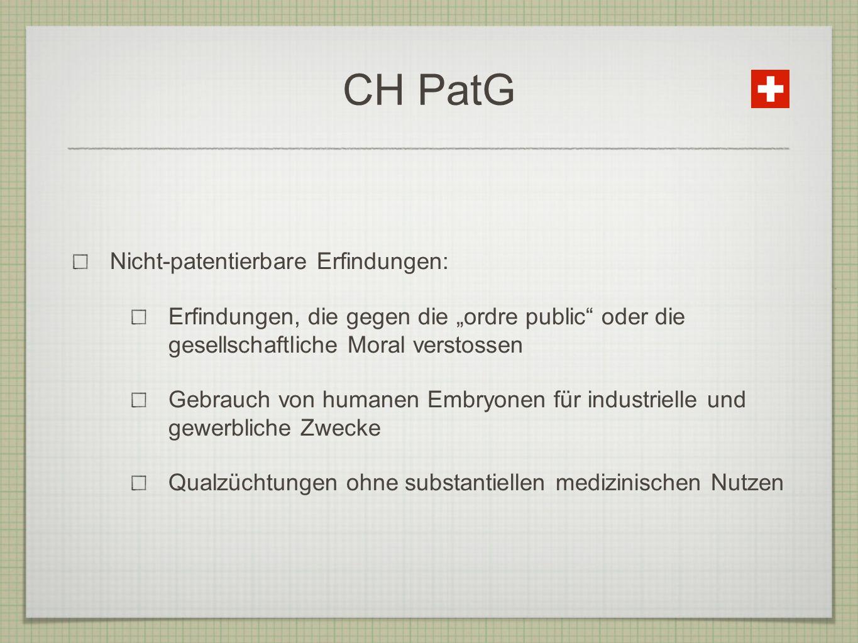 CH PatG Nicht-patentierbare Erfindungen: