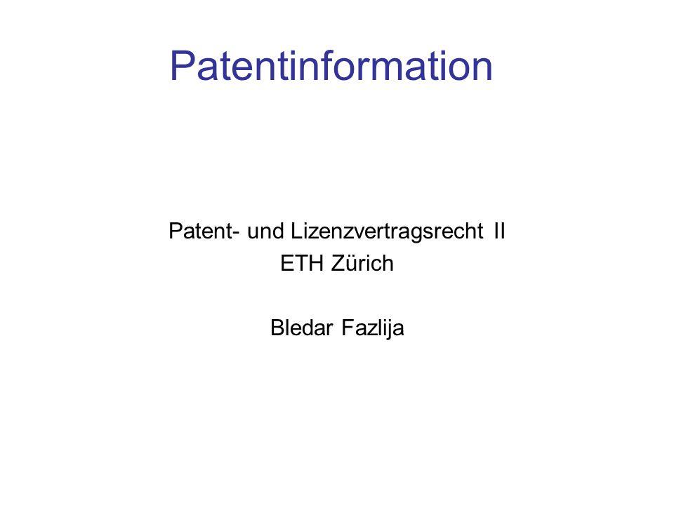 Patent- und Lizenzvertragsrecht II ETH Zürich Bledar Fazlija