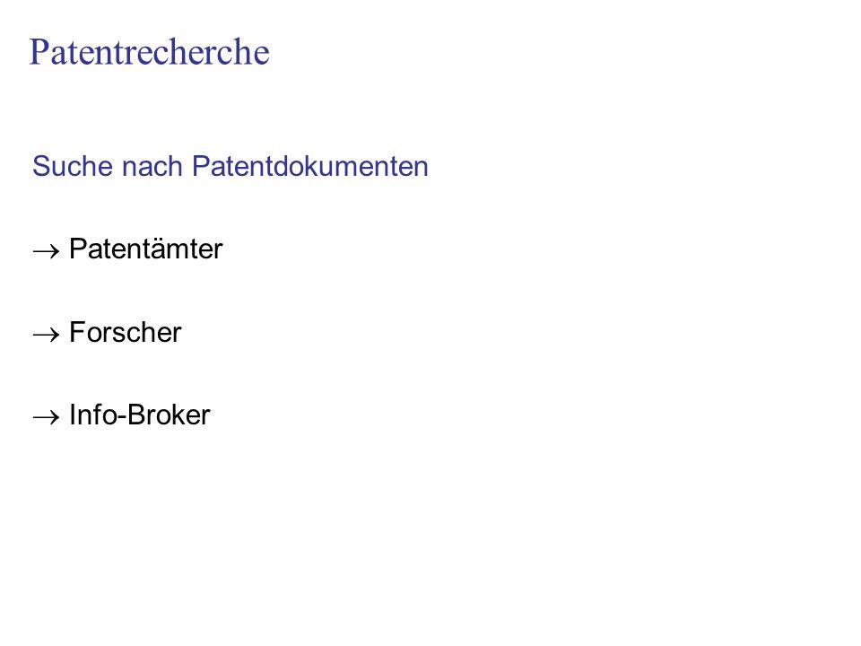 Patentrecherche Suche nach Patentdokumenten  Patentämter  Forscher
