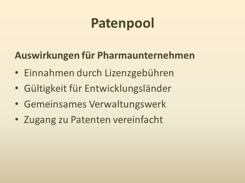 Patenpool Auswirkungen für Pharmaunternehmen