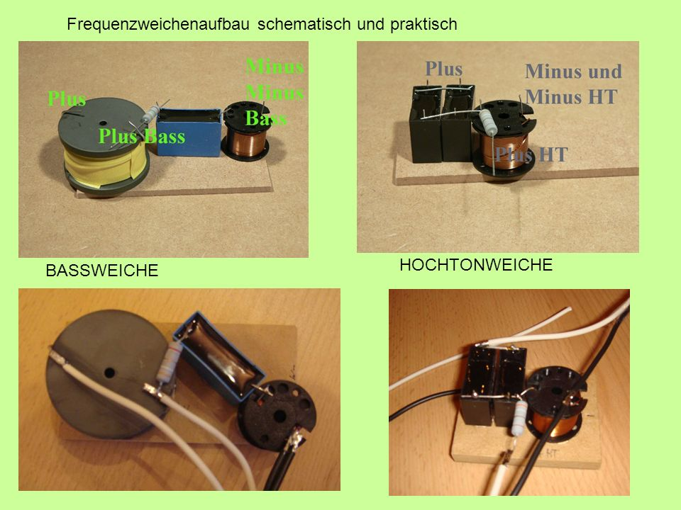 Frequenzweichenaufbau schematisch und praktisch