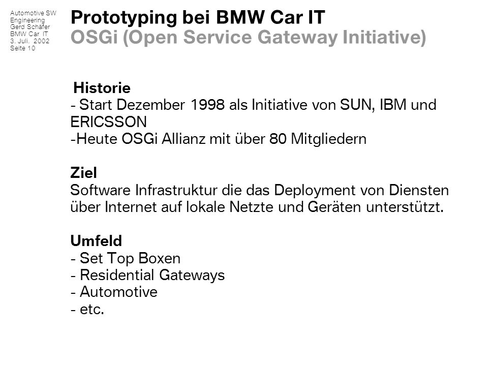 Prototyping bei BMW Car IT OSGi (Open Service Gateway Initiative)