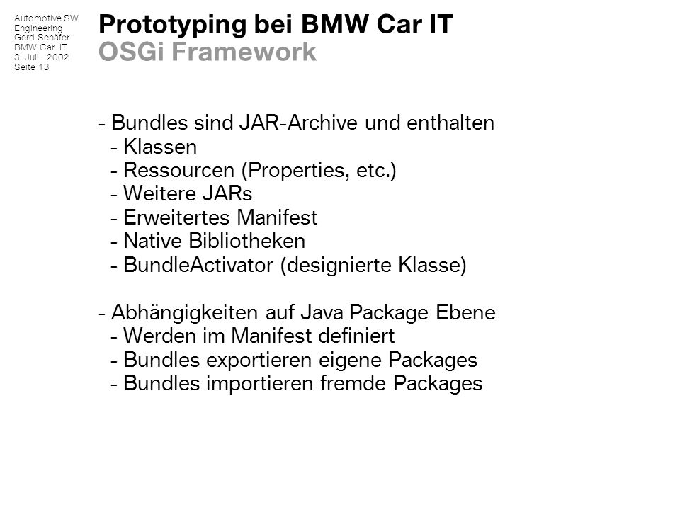 Prototyping bei BMW Car IT OSGi Framework