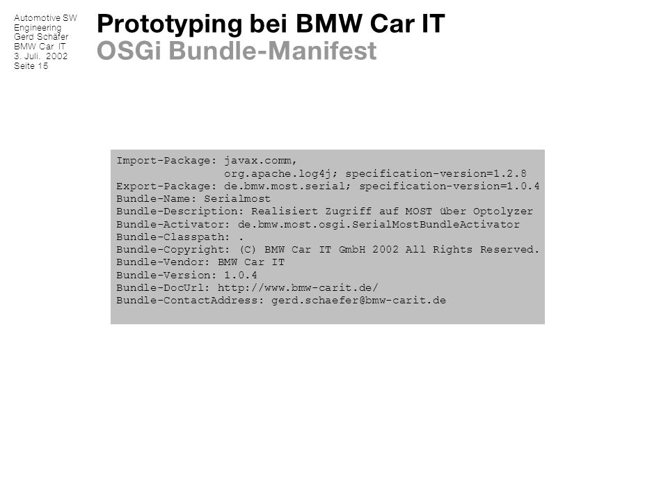 Prototyping bei BMW Car IT OSGi Bundle-Manifest