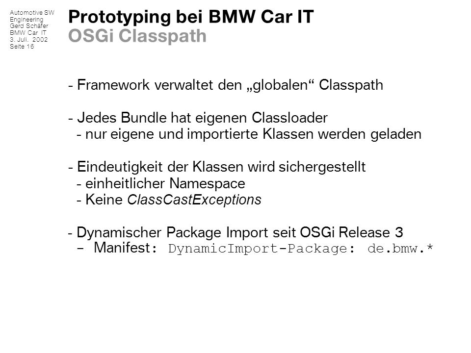 Prototyping bei BMW Car IT OSGi Classpath