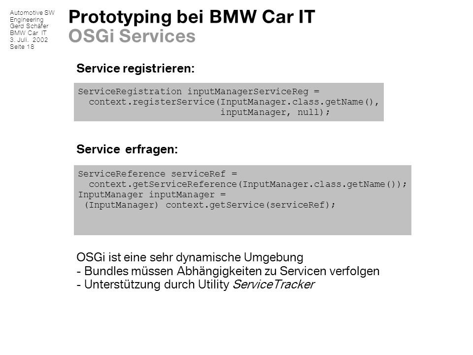 Prototyping bei BMW Car IT OSGi Services