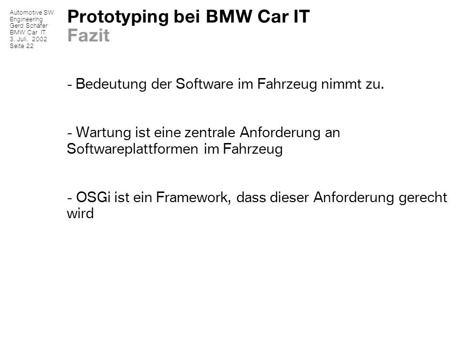 Prototyping bei BMW Car IT Fazit