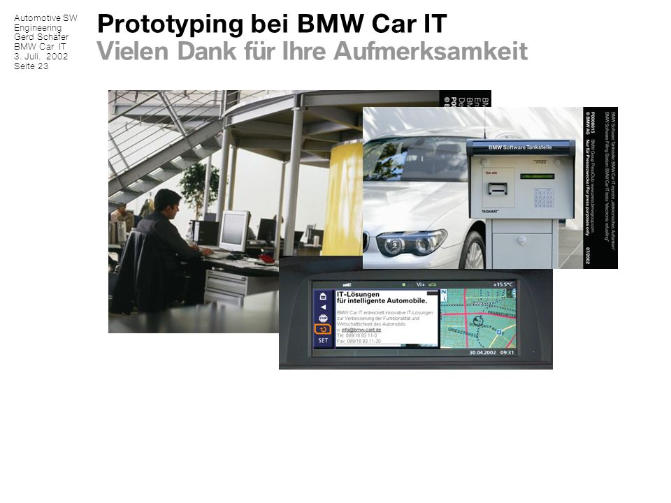 Prototyping bei BMW Car IT Vielen Dank für Ihre Aufmerksamkeit