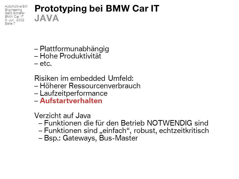 Prototyping bei BMW Car IT JAVA