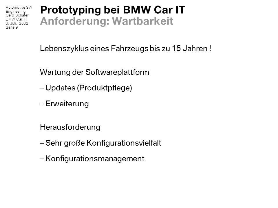 Prototyping bei BMW Car IT Anforderung: Wartbarkeit