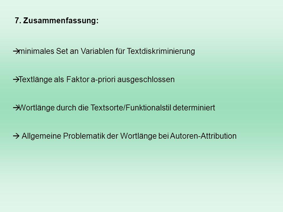 7. Zusammenfassung:minimales Set an Variablen für Textdiskriminierung. Textlänge als Faktor a-priori ausgeschlossen.