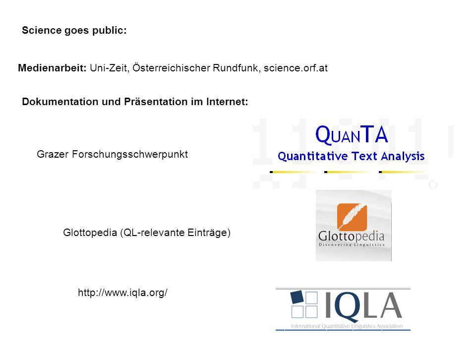 Science goes public: Medienarbeit: Uni-Zeit, Österreichischer Rundfunk, science.orf.at. Dokumentation und Präsentation im Internet: