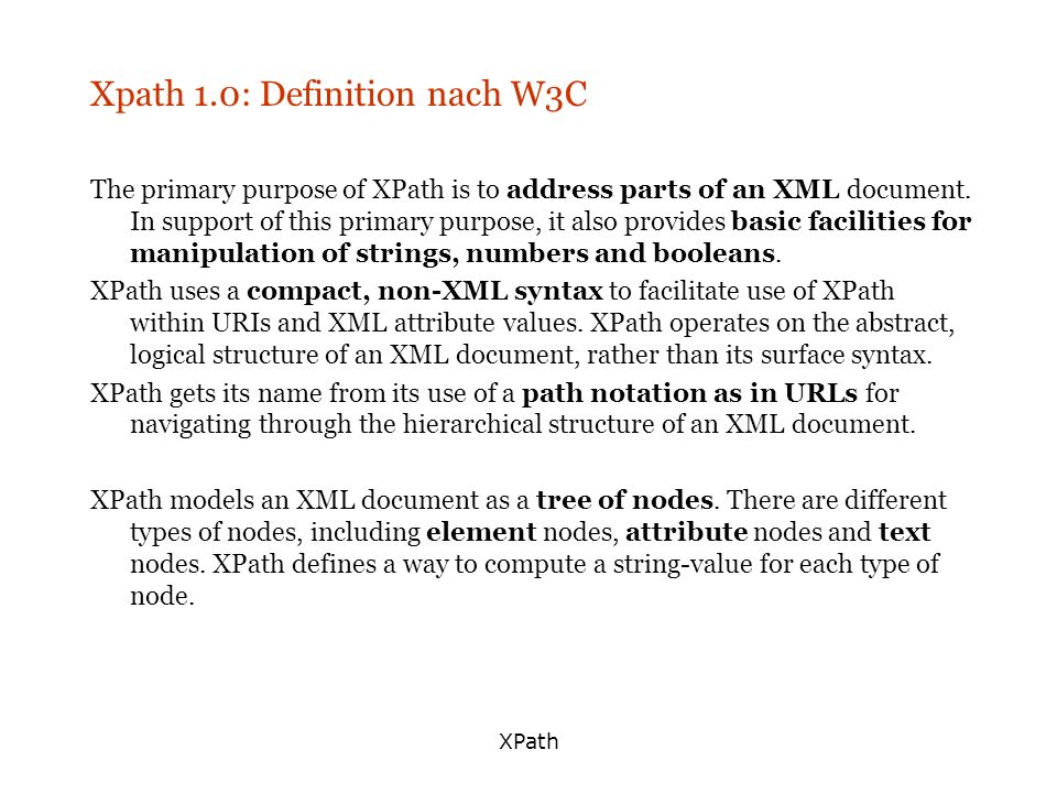 Xpath 1.0: Definition nach W3C