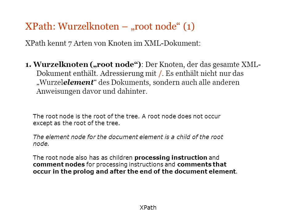 "XPath: Wurzelknoten – ""root node (1)"