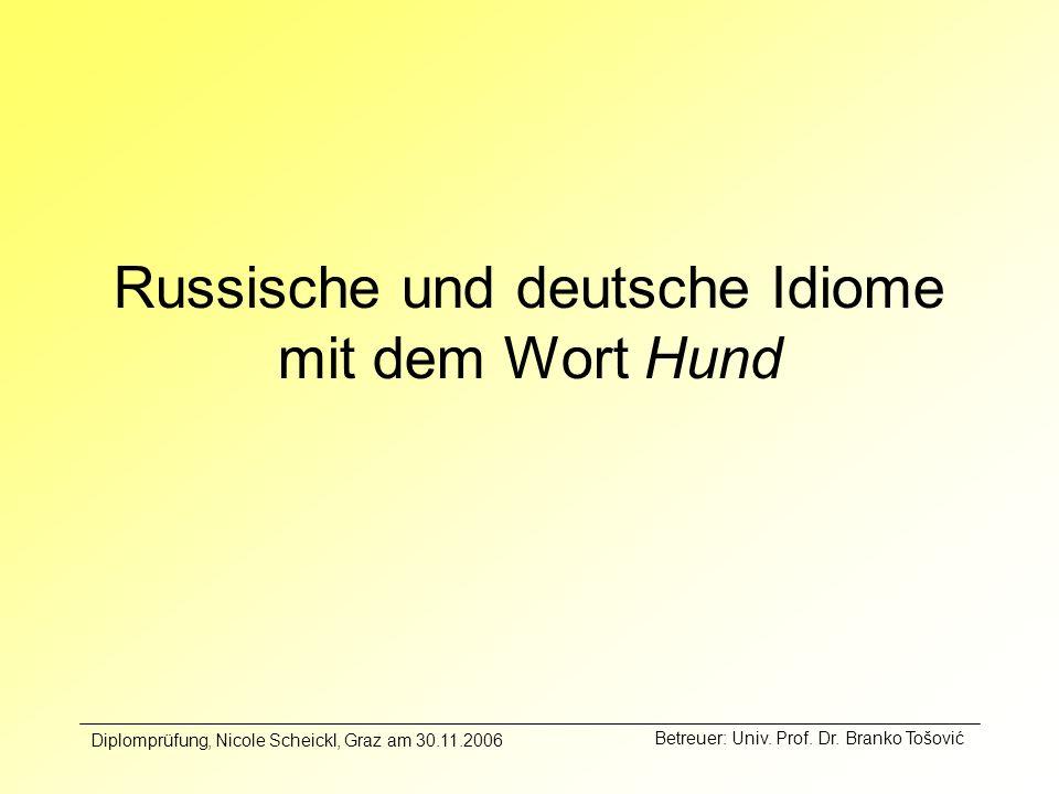 Russische und deutsche Idiome mit dem Wort Hund