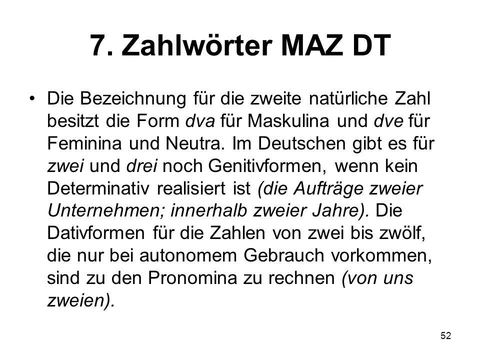 7. Zahlwörter MAZ DT