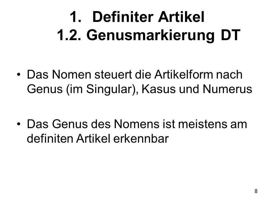 Definiter Artikel 1.2. Genusmarkierung DT