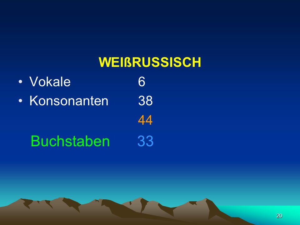 WEIßRUSSISCH Vokale 6 Konsonanten 38 44 Buchstaben 33