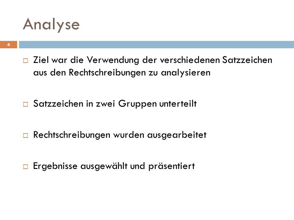 Analyse Ziel war die Verwendung der verschiedenen Satzzeichen aus den Rechtschreibungen zu analysieren.