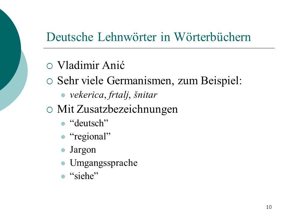 Deutsche Lehnwörter in Wörterbüchern