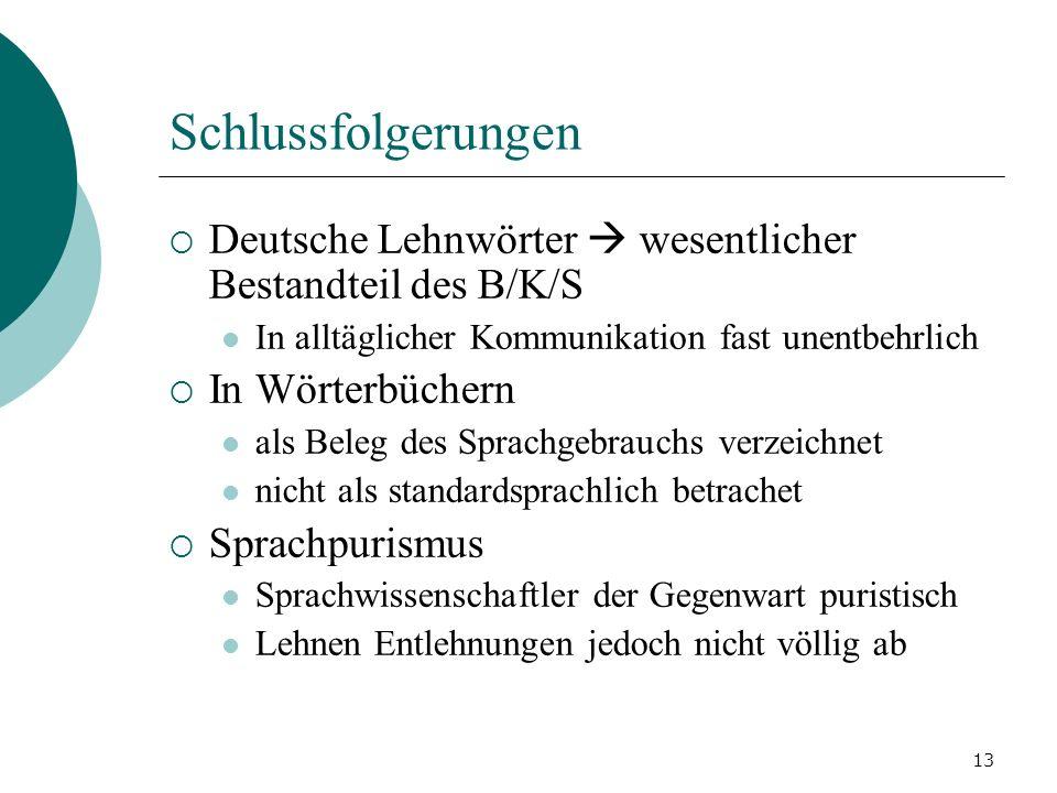 Schlussfolgerungen Deutsche Lehnwörter  wesentlicher Bestandteil des B/K/S. In alltäglicher Kommunikation fast unentbehrlich.