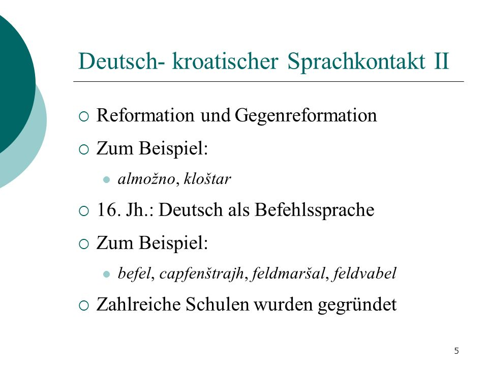 Deutsch- kroatischer Sprachkontakt II