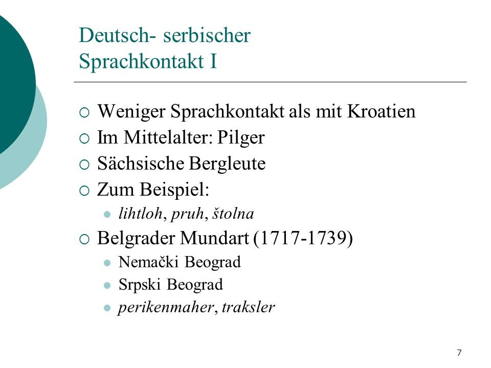 Deutsch- serbischer Sprachkontakt I