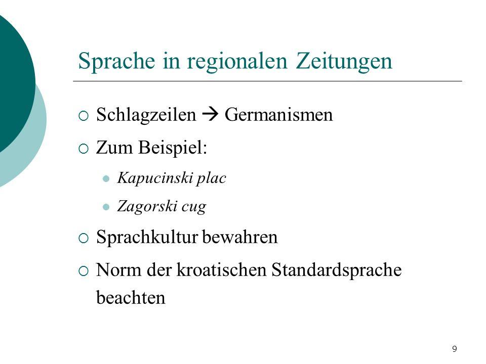 Sprache in regionalen Zeitungen